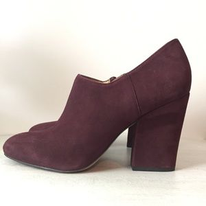 Franco Sarto Plum/Maroon Suede Leather AnkleBootie